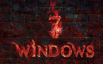 пламя, огонь, компьютер, 7, операционная система. текстура, винда