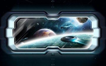 космос, корабли, планеты, окно
