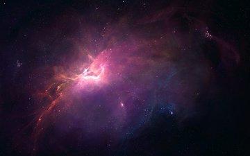 бесконечность, космическая, небулы, звезд, легкие