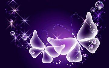абстракт, неон, бабочки, глау, неоновые, butterflies, лиловая, сверкание