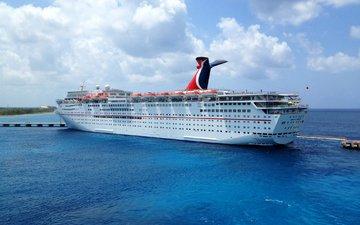 море, корабли, лайнер, рай, карнавал, круизный