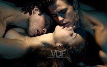 the vampire diaries, nina dobrev, elena, damon, stefan, ian somerhalder, paul wesley