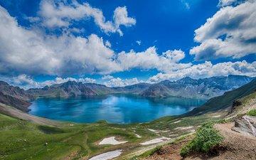 облака, белые, голубое, просторы, озеро в горах, кучевые, широкие