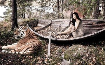 тигр, деревья, девушка, лодка, опавшие листья