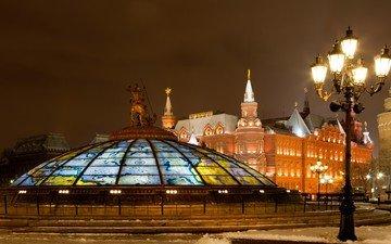 ночь, огни, москва, город, россия, фонарь, башни, памятник, площадь, купол, музей, манежная площадь. москва, манежная площадь