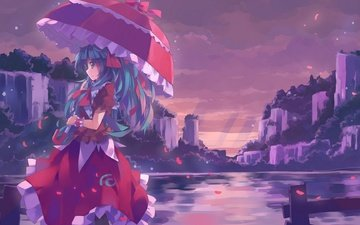 girl, dress, smile, umbrella, kagiyama hina, water., touhou
