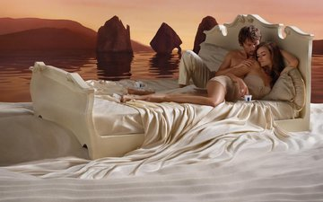woman, on the bed, float, and the man, coffee, the river