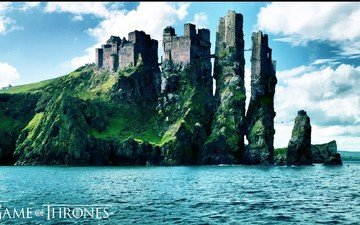 the sky, clouds, rocks, sea, castle, game of thrones