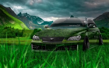 трава, фотошоп, кристал, тюнинг, на природе, тойота, el tony cars, jdm, mark x, грин