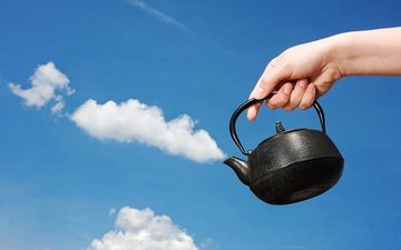 the sky, clouds, hand, kettle