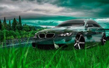 трава, фотошоп, автомобиль, кристал, на природе, бмв, e92, м3, el tony cars, грин