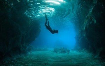 маска, океан, под водой, риф, водолаз, погружение, ласты