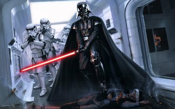 space, sword, soldiers, fiction, darth vader, star wars, costume, villain