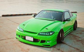 зелёный, автомобиль, ниссан, дрифт