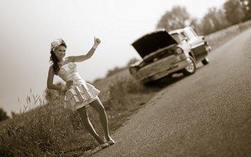 дорога, деревья, девушка, ретро, авто, красивый, позирует, автомобиль, невеста