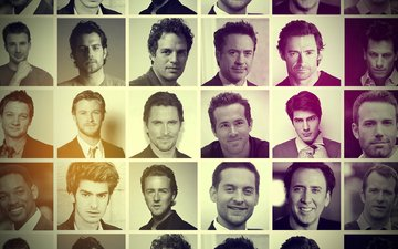 black and white photo, men of hollywood, famous actors