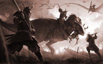 лес, меч, война, солдаты, сражение, динозавры, самурай, доспехи, тиранозавр, птеранодон