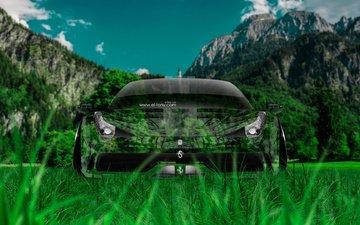 трава, фотошоп, автомобиль, феррари, кристал, на природе, 458, передний, италиа, грин