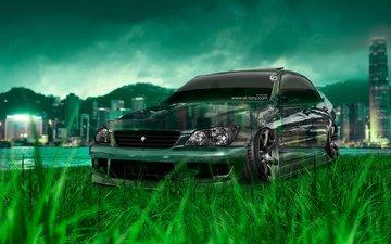 трава, города, фотошоп, автомобиль, кристал, тюнинг, на природе, дезайн, тойота, el tony cars, jdm, altezza, грин