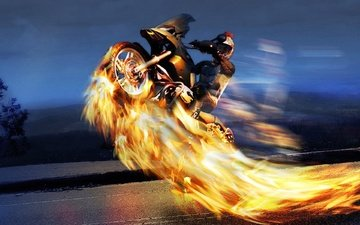road, night, flame, motorcyclist