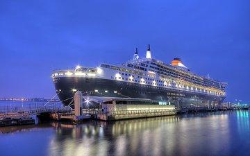 ночь, город, порт, ливерпуль, queen mary 2
