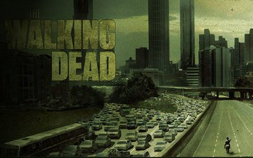 road, horse, bridge, the city, zombies, machine, tube, the walking dead