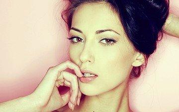 глаза, девушка, брюнетка, взгляд, губы, лицо, красотка, анна сбитная, anna sbitnaya, сексапильная