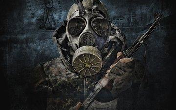 the game, gas mask, stalker