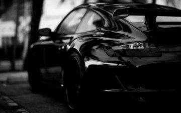 черный, автомобиль, порше