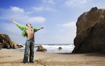 rocks, sea, sand, male, men, macho, torso