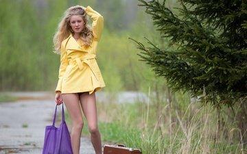 дорога, девушка, блондинка, ситуации, взгляд.