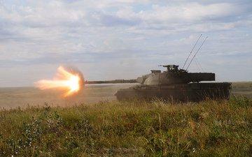 трава, огонь, танк, боевой, канадский, leopard-c2