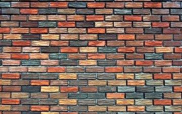 текстура, фон, стена, разноцветный, кирпич, кладка