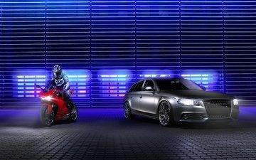 краcный, ауди, a4, silvery, avant, panigale, спортивный мотоцикл, дукати, передний