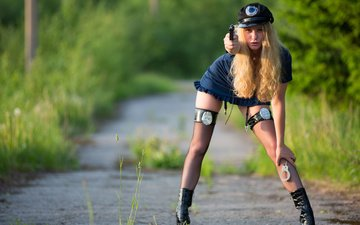 девушка, блондинка, взгляд, форма, элла