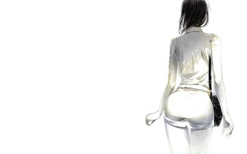 арт, девушка, минимализм, живопись, sawasawa