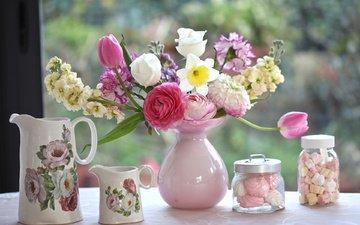 букет, тюльпаны, ваза, зефир, кувшины, гвоздики