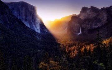 небо, деревья, горы, солнце, лес, гора, водопад, вс, неба, деревь