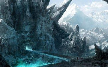 горы, скалы, мост, лицо, рот, вход, каменное, путники