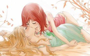 цветы, девушки, трусики, любовь, поцелуй, майка, юри