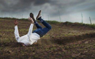 полет, мужик, падение, торможение