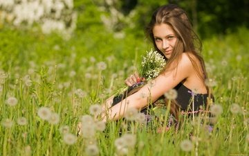 girl, lilies of the valley, dandelions