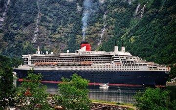 горы, лес, корабль, лайнер, 2, пролив, пассажирский, ручьи, куин мэри, queen mary 2.