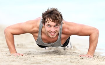 smile, sand, beach, male, muscles, pressed
