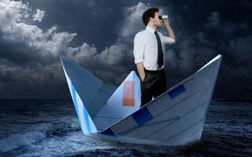 sea, rain, male, storm, tie, boat, binoculars