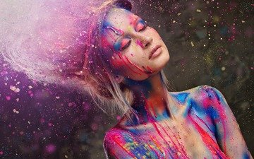style, paint, model, shoulders, hair, hands, eyelashes, closed eyes, devuska