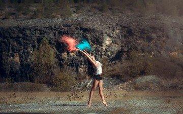 краска, танец, пыль, взмах, шорты, грация, leslie boulnois