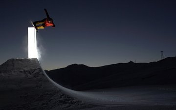 light, night, snowboard, jump