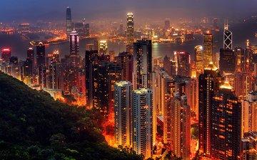 ночь, огни, вечер, город, азия, китай, гон-конг