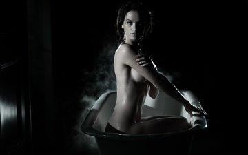 труселя, ню, женщин, strategic covering, bathtubs, grayscale, gwendoline taylor, обнаженный до пояса, влажная